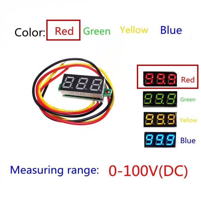 Rouge trois lignes précision DC numérique voltmètre tête LED voltmètre numérique DC4.5V-30V 0.28 pouce Mini voltmètre numérique 0-100V