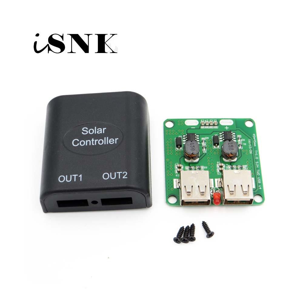 Regulador de cargador de batería de teléfono móvil 5V 2A dos paneles solares USB regulador de carga de voltaje dc a dc convertidor 6 V-10 V entrada 5Vdc