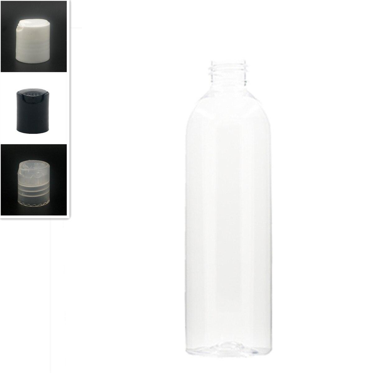 250 мл пустая круглая пластиковая бутылка cosmo, прозрачная ПЭТ бутылка с белым/черным дисковым верхом