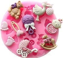 Bébé douche Silicone moule Fondant gâteau chocolat décoration bonbons pâtisserie moule