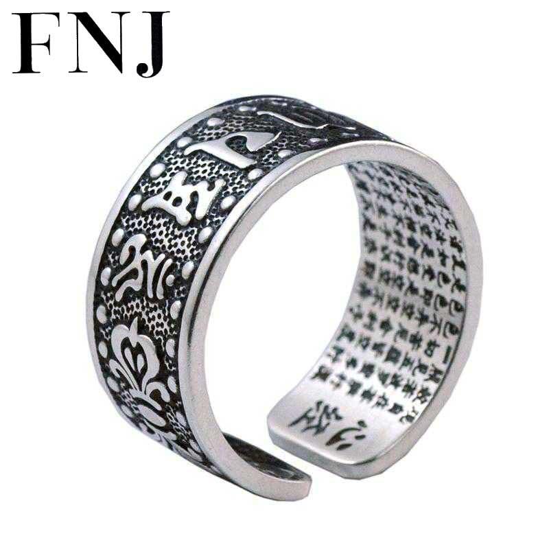 FNJ мужские кольца 925 пробы Серебряное кольцо anillo в стиле панк с шестью словами mantra Real S999 солидное тайское серебряное кольцо для женщин и мужч...