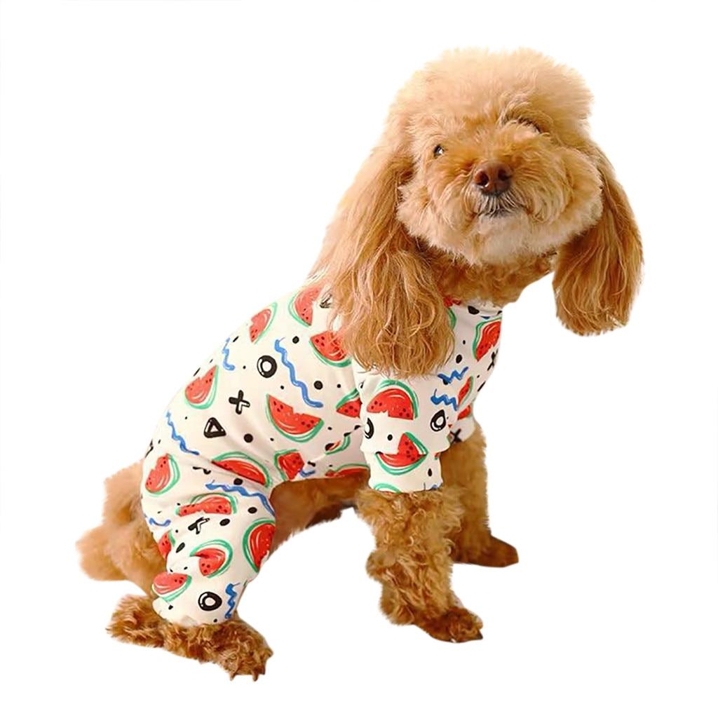 Trsnser roupas para cães roupas brancas macacão confortável respirável modelos de verão casual melancia pijamas 19june4 p30