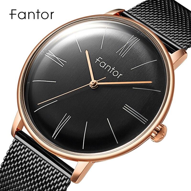 Fantor الحد الأدنى الفاخرة ساعة كوارتز رجل جديد العلامة التجارية الكلاسيكية شبكة الصلب ساعة اليد رجالي عادية مقاوم للماء ساعات المعصم للرجال