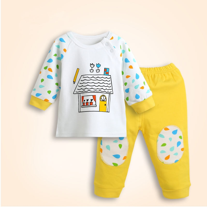 2015 Spring New 0-2 years baby unisex fashion character Full-sleeved cotton O-Neck Brand orignal clothes 2pcs/set Hot sell