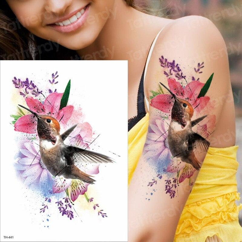Tatuaje de acuarela colibrí falsos temporales tatuaje adhesivo decorativo para el cuerpo impermeable mano tatuaje de pájaro para mujeres brazo hombres tatuajes Color agua