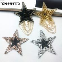 1 pcs 8.5cm Star Patches hotfix rhinestone trim iron on rhinestones Crystal motifs applique for children women clothes patch