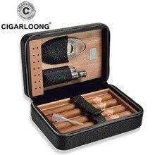 COHIBA Cedar Wood Cigar Humidor Travel Portable Leather Cigar Case with cigar cutter and lighter hold 4 cigars TT-1001