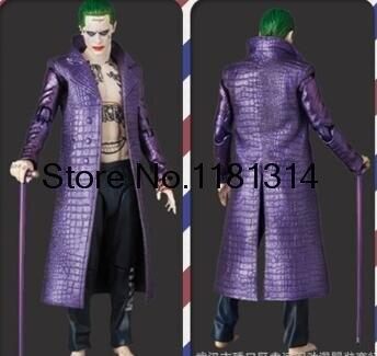 Envío Directo Joker Jared Leto disfraz Suicide Squad Halloween Cosplay disfraz abrigo de cuero púrpura