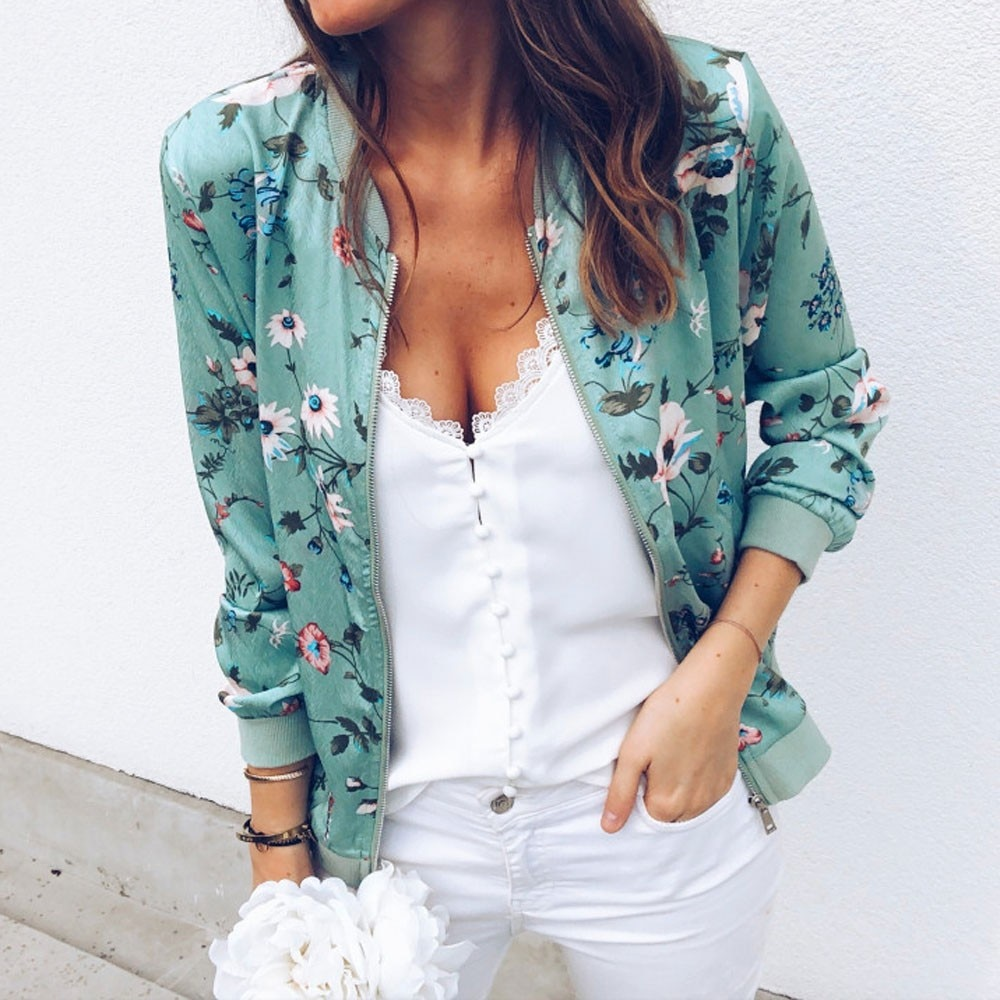 Chaqueta Retro Floral con cremallera para Mujer, Abrigo informal, prendas de vestir,...
