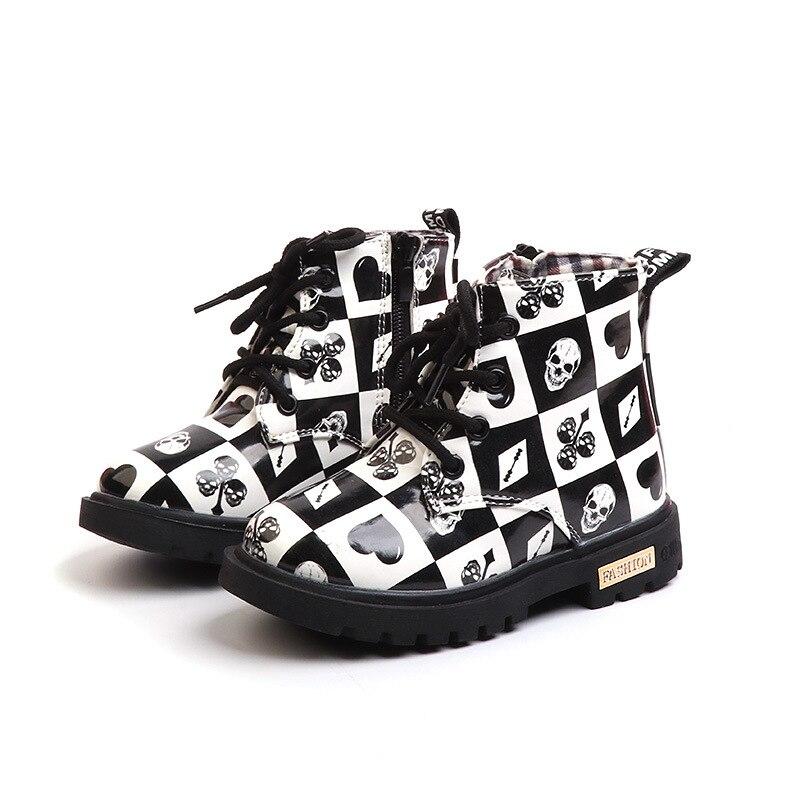 אופנה ילדי מרטין מגפי עור מפוצל ילדי נעלי בני מגפי גשם עמיד למים הדפסת פוקר סריג בנות סניקרס