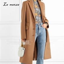 Women Winter Coat 2020 Elegant Wool Warm Long Coat Korean Style Fashion Office Camel Coat