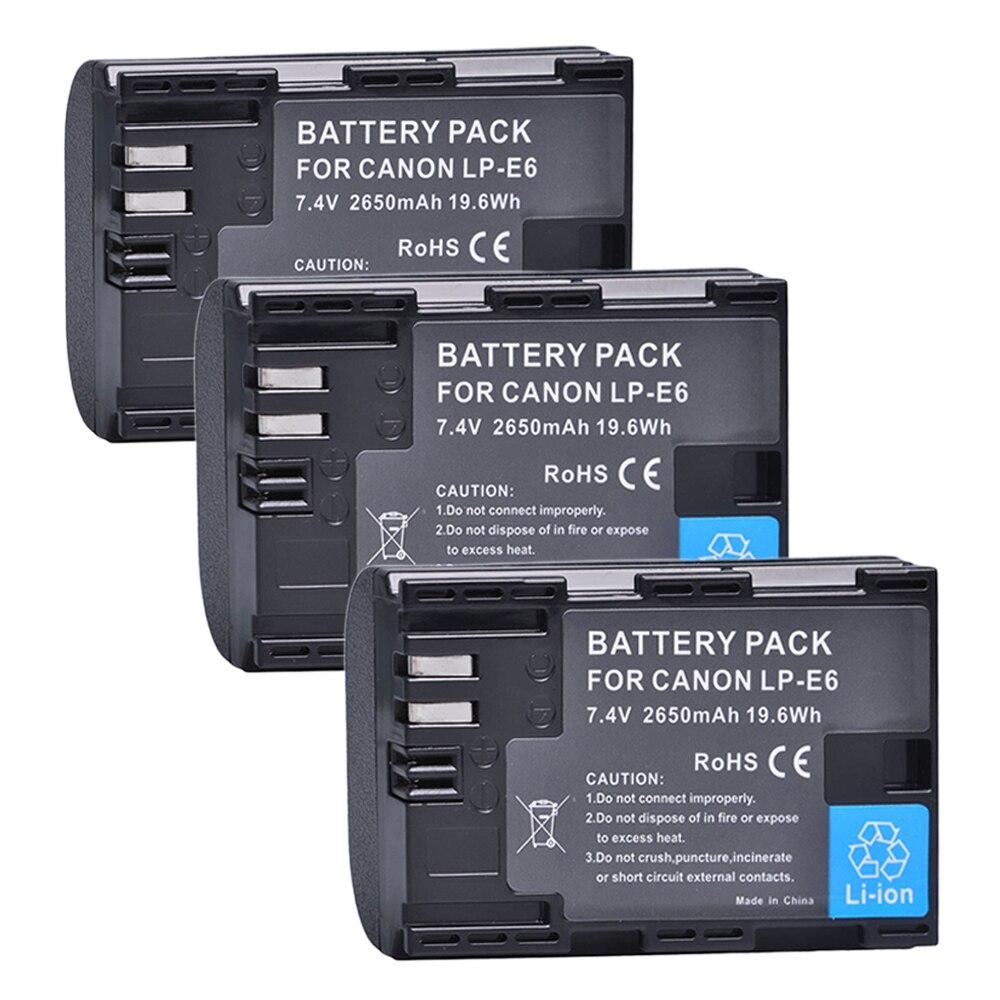 Tectra 2650mAh LP-E6 LPE6 3 uds batería de cámara para Canon EOS...