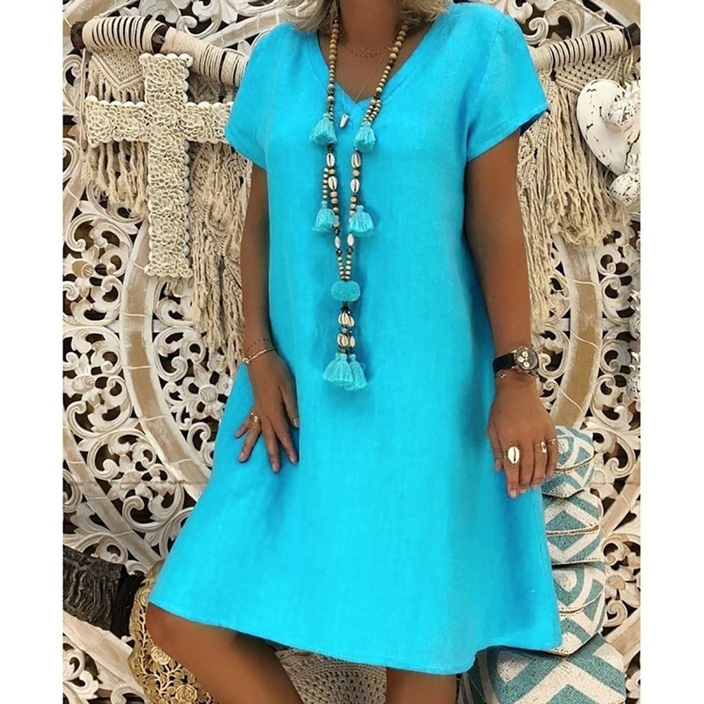 Women Summer Dress 2021 Loose Plus Size Dresses Feminino Vestidos T-shirt Cotton Casual Plus Size Ladies Dress Sundress 1005002256017517 фото