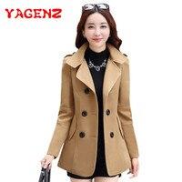 Женское шерстяное пальто YAGENZ, двубортное пальто в Корейском стиле с добавлением смешанной ткани, Осень-зима 2021