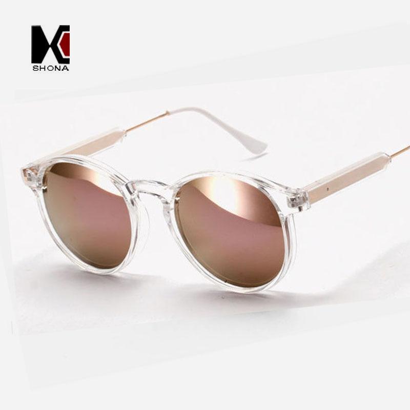 SHAUNA Round Sunglasses Brand Designer Women Keyhole Sun Glasses Transparent Frame Men Eyewear Mirror Lens Coating Gafas UV400
