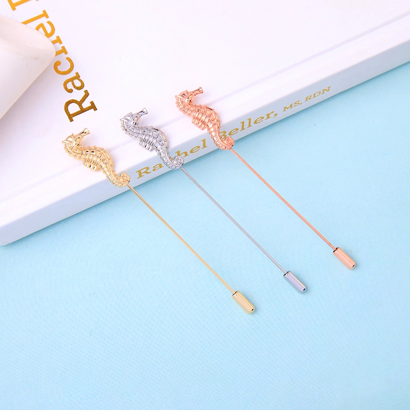 Nueva llegada oro/rosa/Color plata broche de caballito de mar para las mujeres romántico cita regalo de cita broche accesorio de la joyería