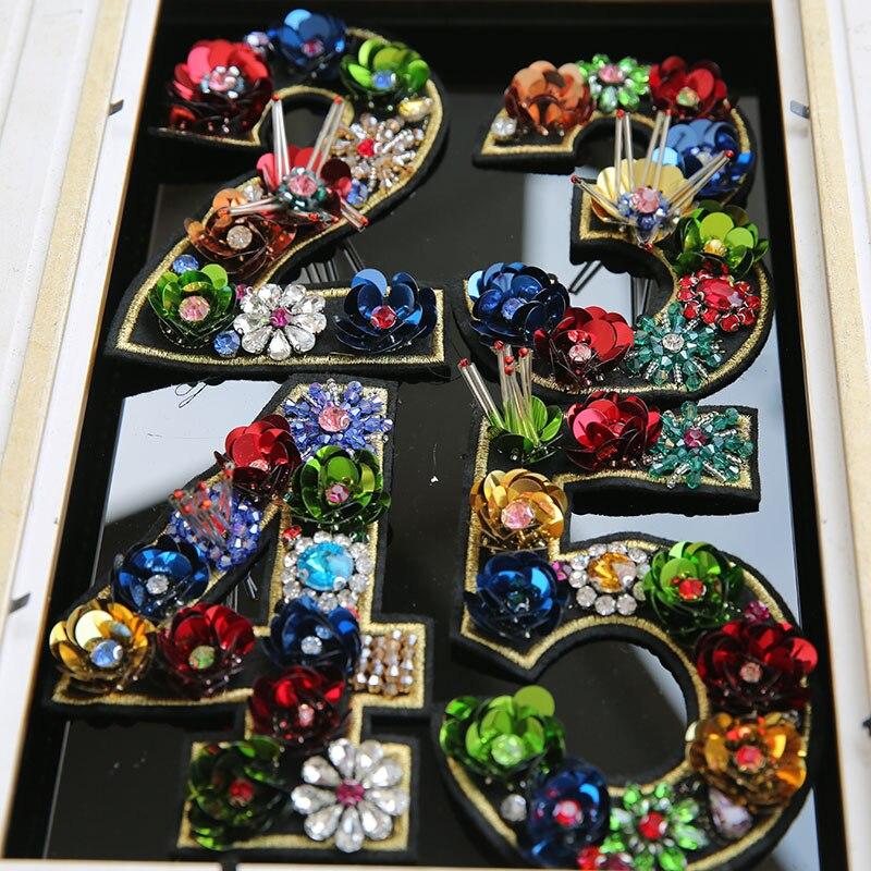 3D Handgemachte strass perlen patches für kleidung tasche DIY nähen auf blume anzahl pailletten appliques patch Dekorative floral Parches