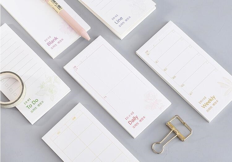 Nova agenda diária semanal almofadas de memorando plaina adesivos papel bloco de notas papelaria material escolar notas