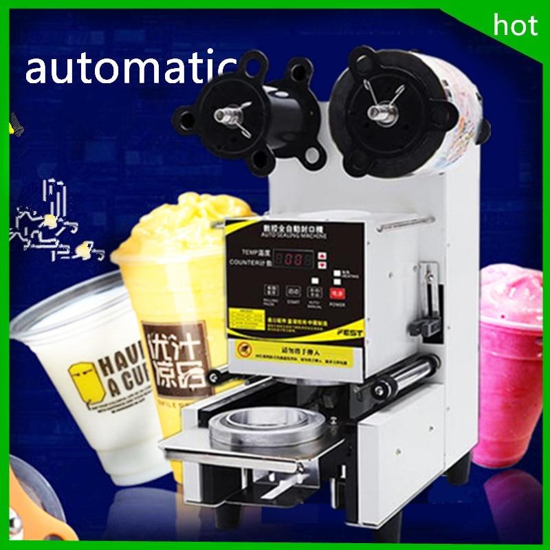 18 2019 gran oferta comercial automática burbuja Boba té y café PP PE taza de plástico PC máquina selladora para etiquetado