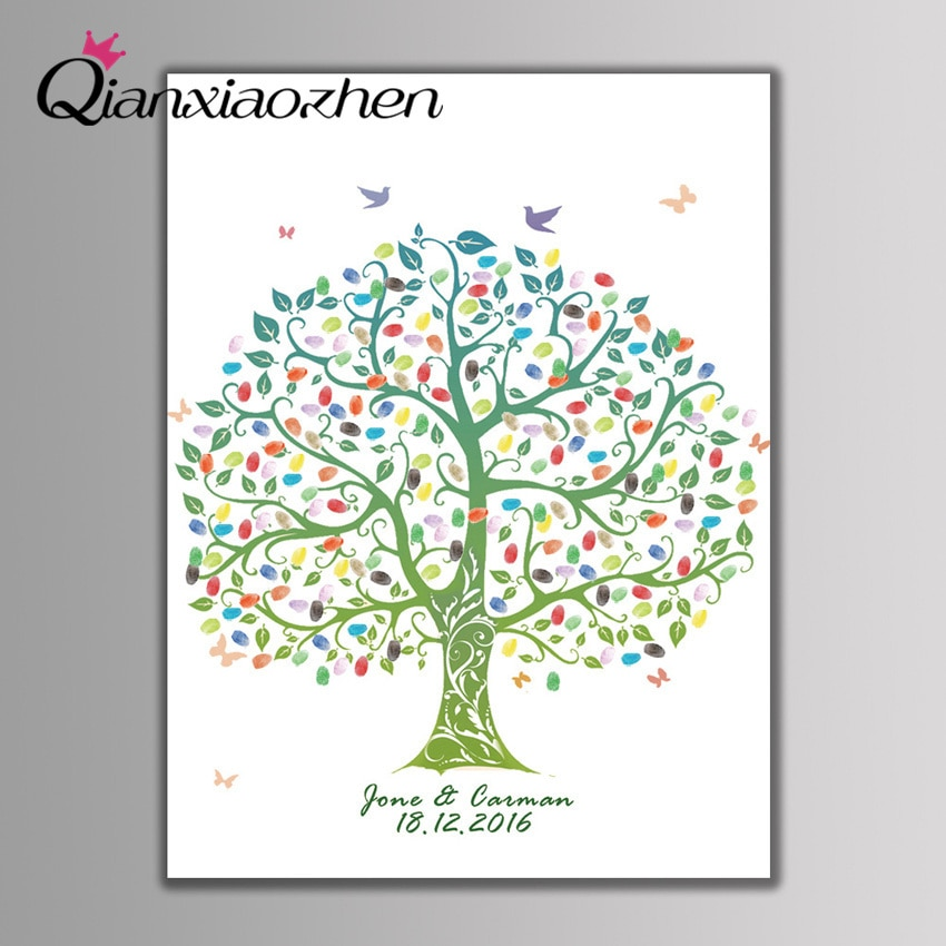 Qianxiaozhen Personalized Tree Fingerprint Wedding Guest Book Wedding Decoration Mariage Gastenboek Arbol...