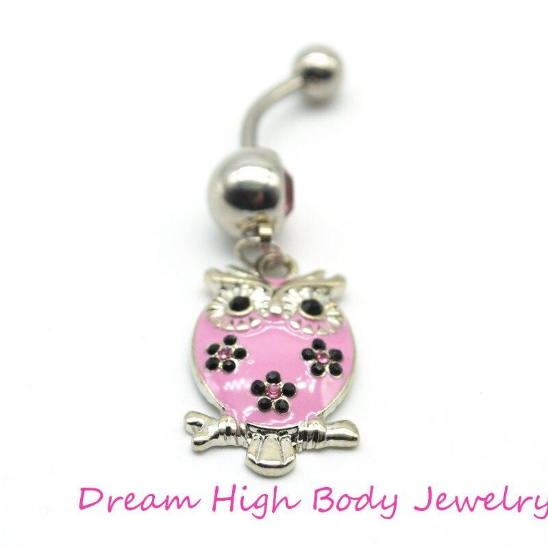 Pink Birds Belly Bar Pendant Navel Ring 14G Crystal Gem Stone Rhinestone Owl Dangle Ball Barbell Body Piercing For Women Girl