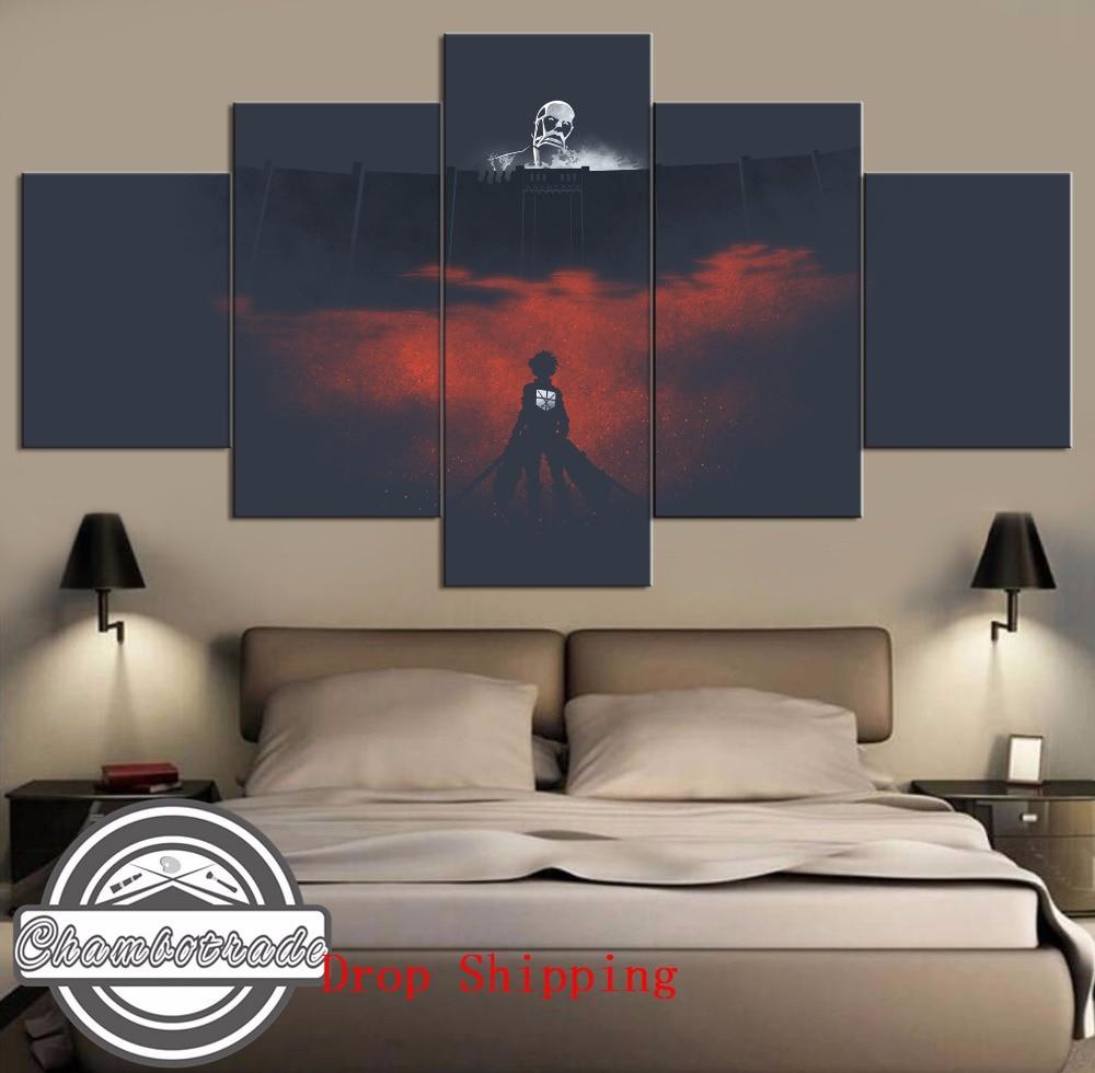 Современная-Картина-на-холсте-hd-5-шт-искусство-«атака-на-Титанов»-аниме-на-холсте-настенное-украшение-для-дома-художественное-оформление