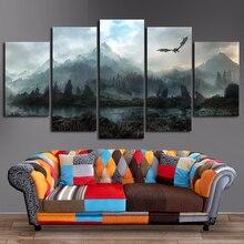 Płótno obrazy na ścianę Home Decor 5 sztuk gra o tron Dragon Skyrim obrazy do salonu modułowe wydruki plakat ramki