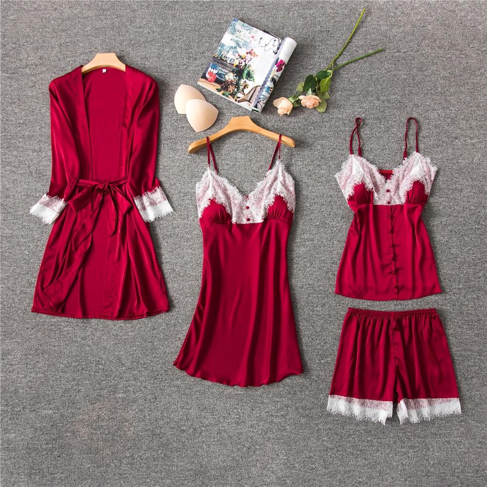 Pijama Daeyard de seda para mujer, conjunto de pijama de 4 piezas, ropa de dormir sexi con encaje recortado, bata con cuello en V, pijamas para primavera y verano, ropa de casa