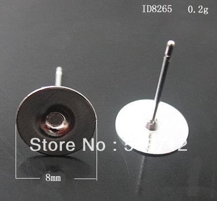 Free shipping!!! 2000 pcs  Silver Plated Earring Post W /Stoppers pad 8mm,Earrings Base,Earrings Post