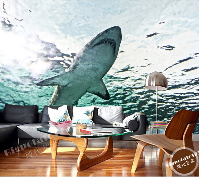 Papel de pared personalizado 3D Grandes murales, tiburón Acuario Marino, sofá Sala Pared de TV dormitorio fondo