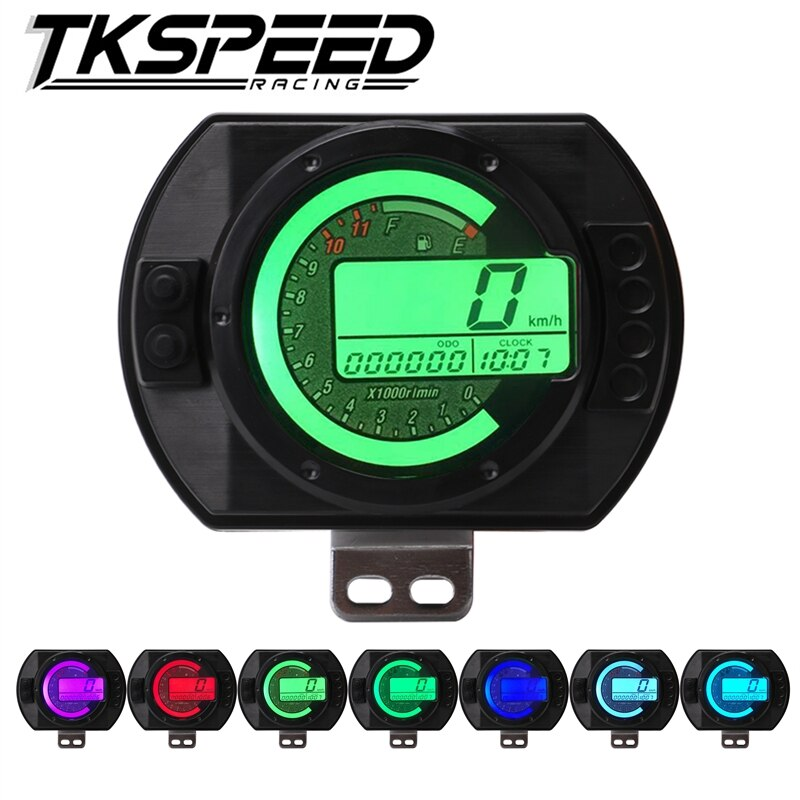 Спидометр для мотоцикла, 12500 об/мин, ЖК-цифровой одометр, 7 цветов подсветки, спидометр для мотоцикла, Счетчик тахометра