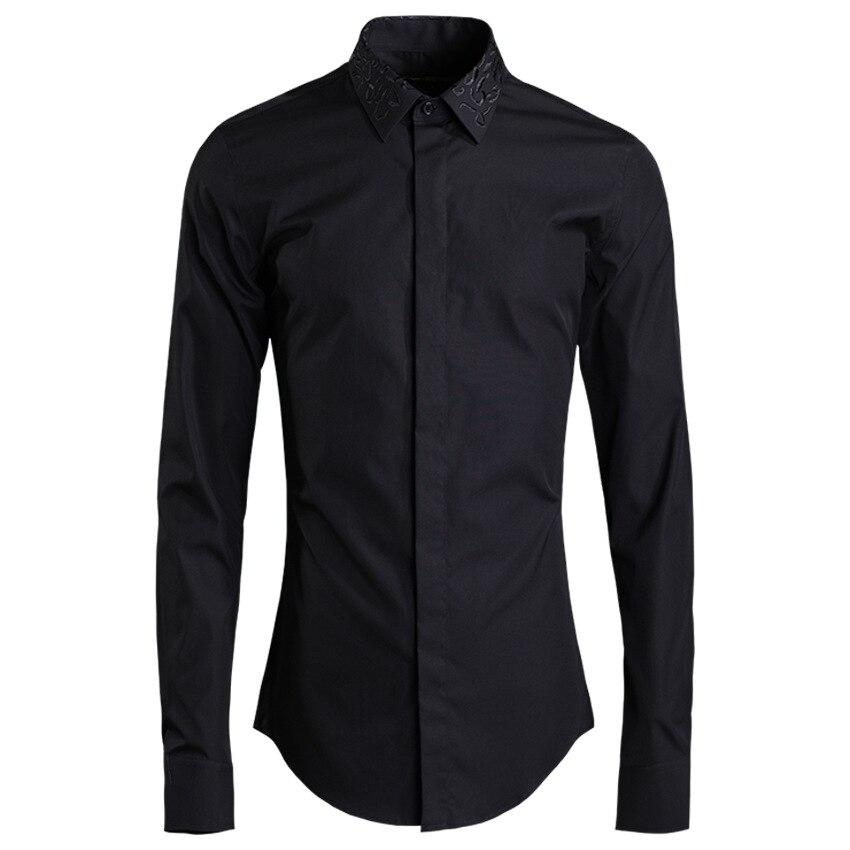 قميص رجالي أسود طويل الأكمام, قميص رجالي أسود طويل الأكمام مطرز عالي الجودة من القطن بياقة مطرزة