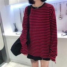 Donna uomo marchio di moda stile coreano Vintage nero rosso striscia Ulzzang Harajuku o-collo t-shirt manica lunga magliette Casual femminili