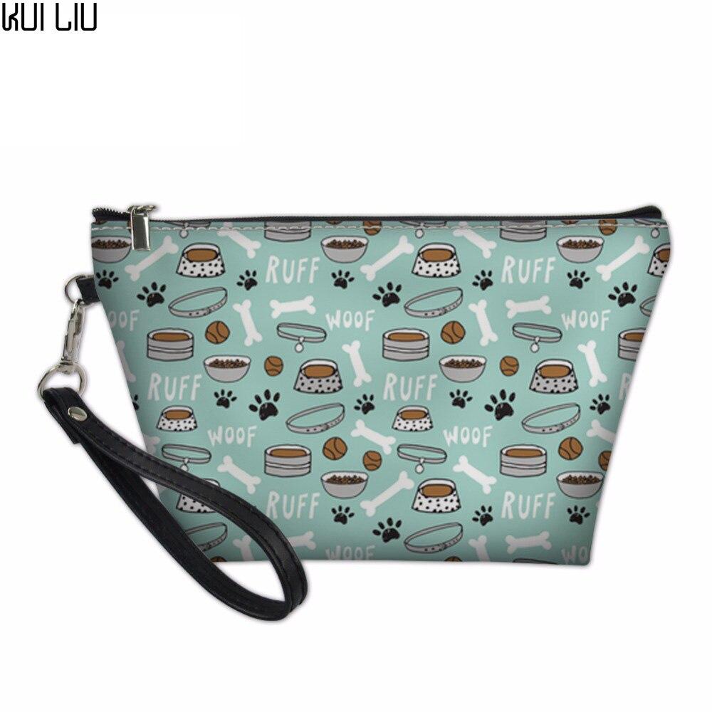 Caja de cosméticos portátil personalizada bolsa de perro pata de hueso impreso organizador de viaje maquillaje organizador bolsa de almacenamiento