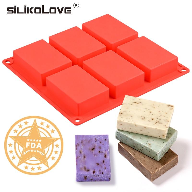6 cavidade molde de silicone para fazer sabonetes 3d simples sabão molde retângulo diy artesanal sabão forma bandeja molde