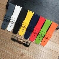 28mm soft black white green yellow orange gray blue red silicone rubber watch strap bracelet for ap royal oak watchband belt