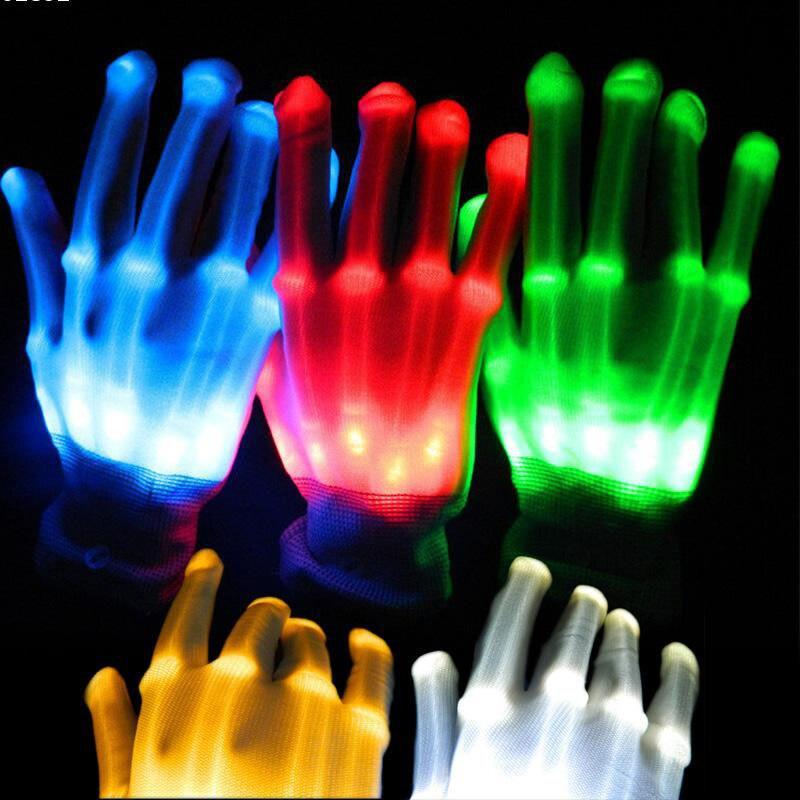 1 Uds. Con batería concierto de música de Navidad Guantes luminosos LED iluminación destellante dedo brillo Flash baile Club Props fiesta
