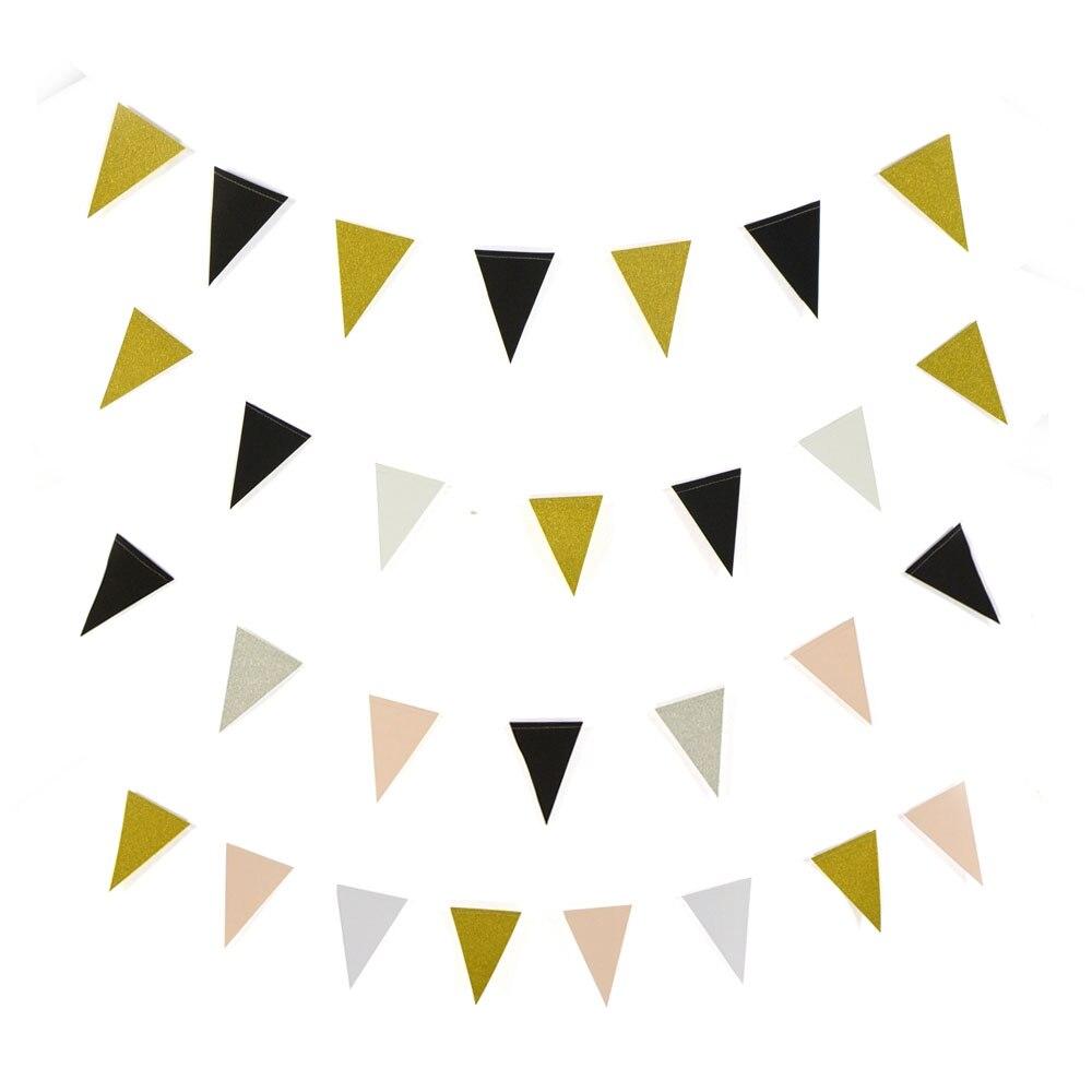 Guirlande de banderoles drapeau rose or argent   Mini banderole en papier à paillettes de bricolage pour fête à domicile, décoration de mariage, fournitures de fête
