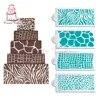 Ensemble de pochoirs à gâteaux en peau d'animaux modèle de conception Safari bordure de gâteau pochoir décoratif outil de cuisson