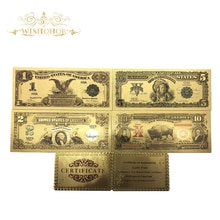 5 sztuk/partia wartość kolekcjonerska 1889 i 1901 rok kolorowe ameryka banknoty 1 2 5 10 dolar banknot w pozłacane do dekoracji wnętrz