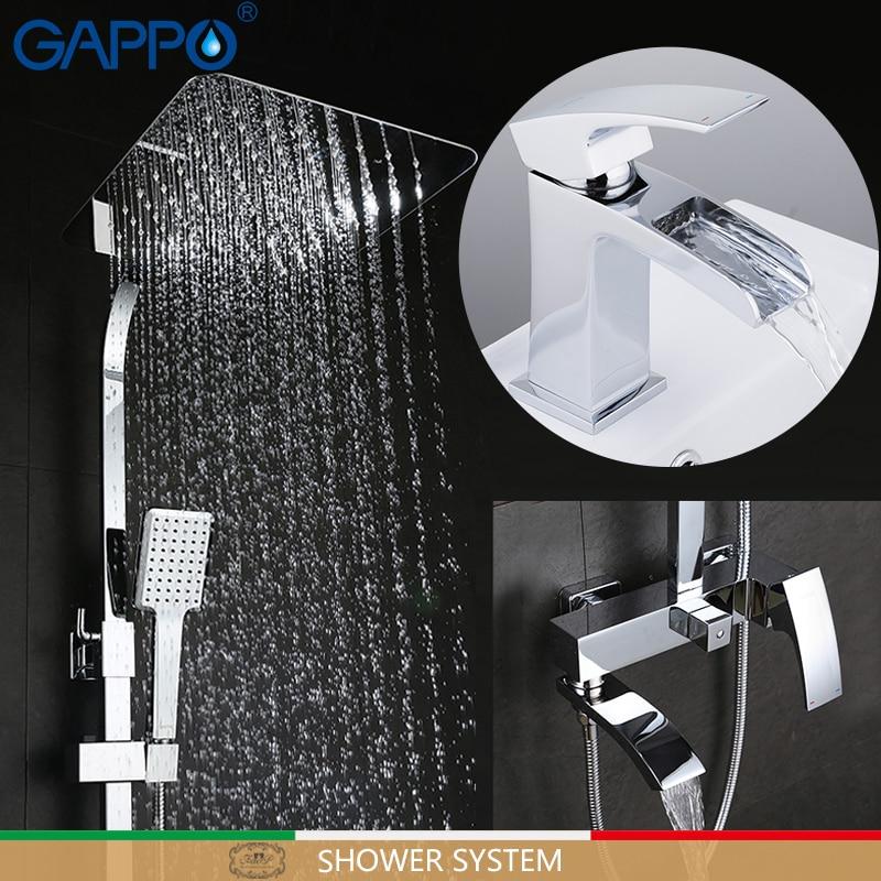 GAPPO-مجموعة دش نظام مع صنبور حوض ، خلاط حمام كروم ، مجموعة دش الحمام النحاسية torneira do anheiro