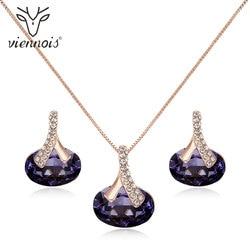 Viennois na moda conjunto de jóias roxo strass gargantilha colar e brincos de gota conjunto de jóias para as mulheres moda conjunto de jóias
