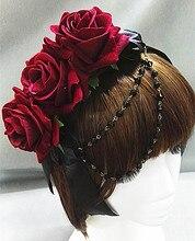 Lolita Floral Blue Red Roses Flower Chain Headband Hair Headpiece Vintage Gothic Hair Accessories Handmade