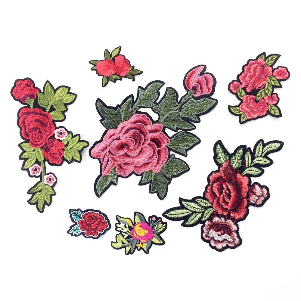 Insignias DIY proveedor de costura parches bordados de hierro para Ropa Adhesivos para planchado parche de Rosa apliques para ropa