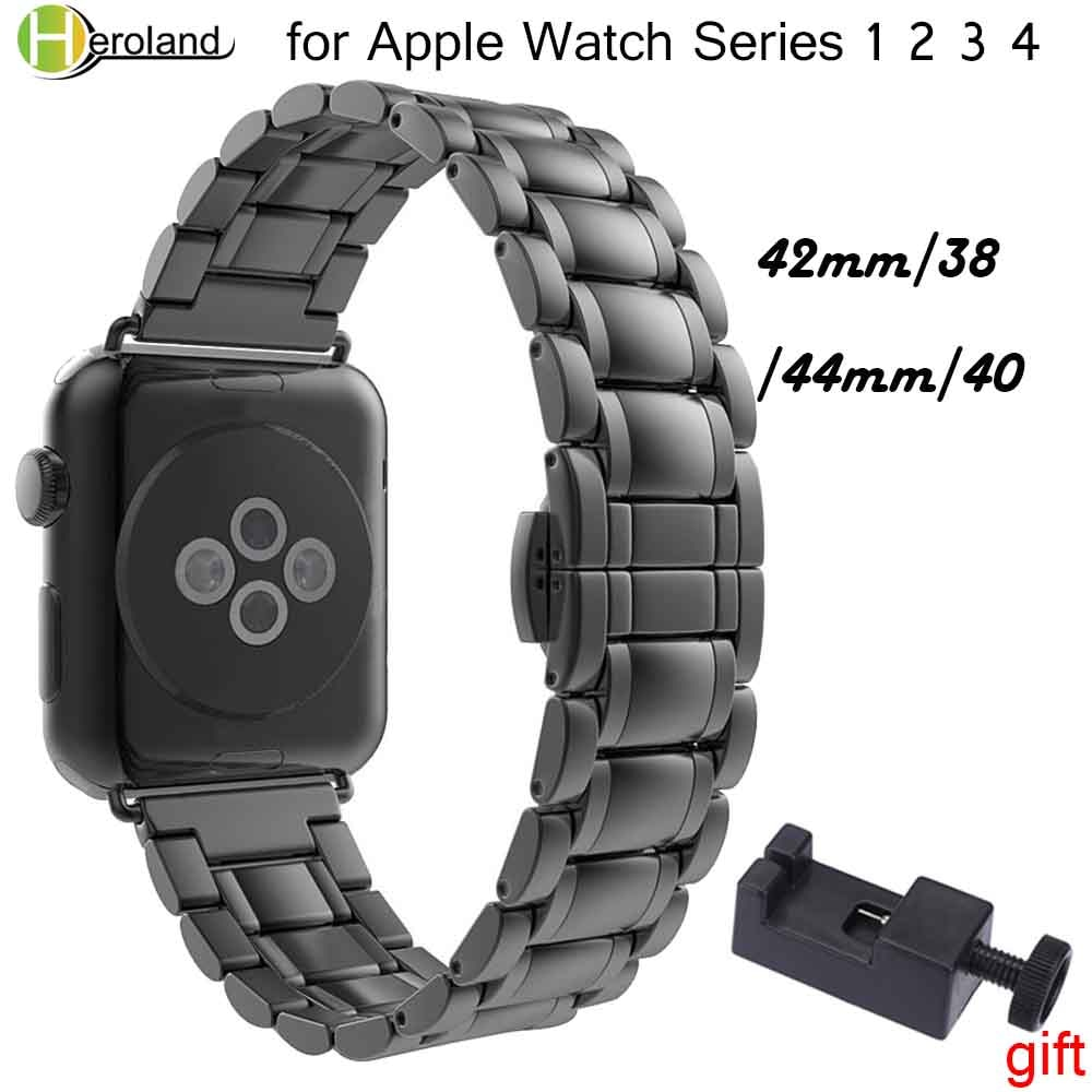 for watchband apple watch 42 mm 38 mm 44mm 40mm 4 3 2 1 band iwatch strap 316l link stainless steel link bracelet wrist belt Luxury Stainless Steel watch Strap for apple watch band 42mm/38mm/44mm/40 link bracelet Watchband for iWatch 4/3/2/1 wrist strap
