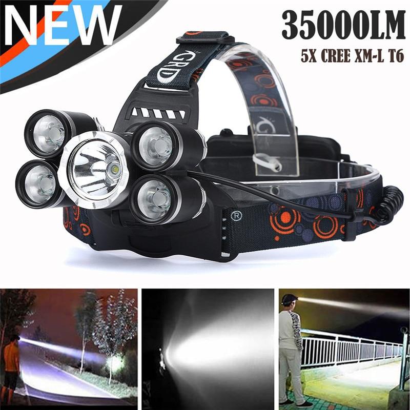 C3 велосипедный фонарь для велосипеда 35000 лм 5X свет XM-L T6 светодиодный перезаряжаемый налобный фонарь для путешествий с регулируемой водонеп...
