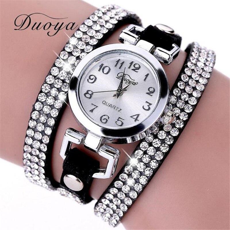 Nuevo reloj de pulsera para mujeres de moda duoya, reloj de pulsera de cuarzo de regalo dorado, reloj de pulsera informal de cuero para Mujer, Relojes para Mujer # D
