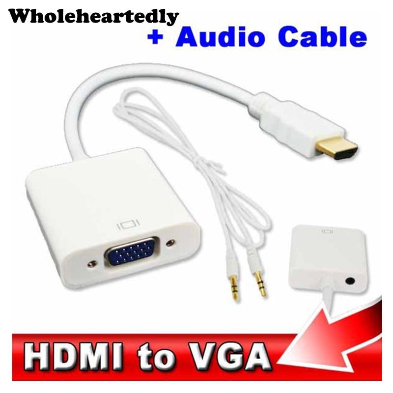 Hdmi para vga 3.5mm plug adaptador de cabo de áudio conversor macho para fêmea adaptador de vídeo hdtv crt monitor tv para xbox 360 para ps3