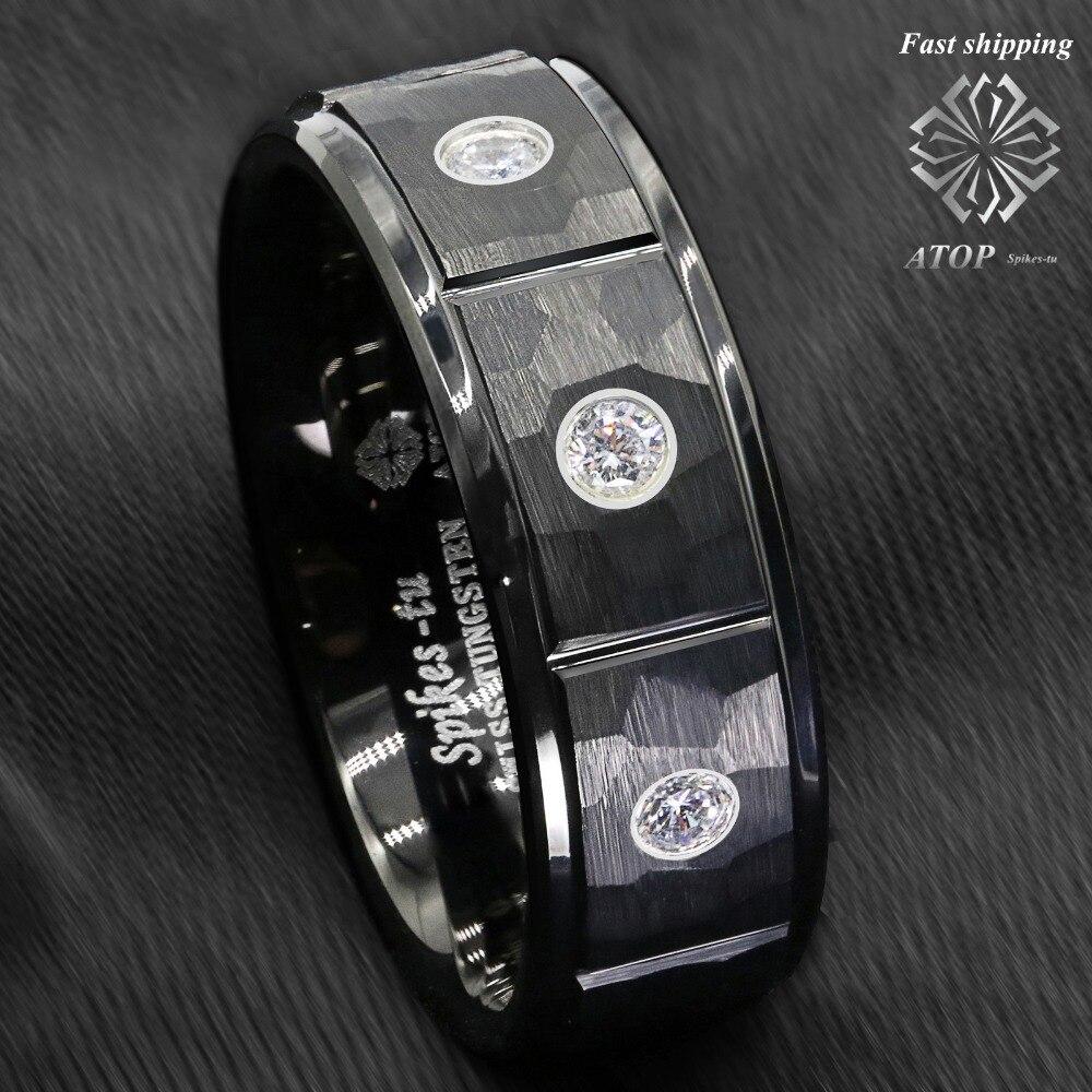 Anillo de tungsteno de ladrillo de roca cepillado negro de 8mm con incrustaciones de 3 diamantes para hombres
