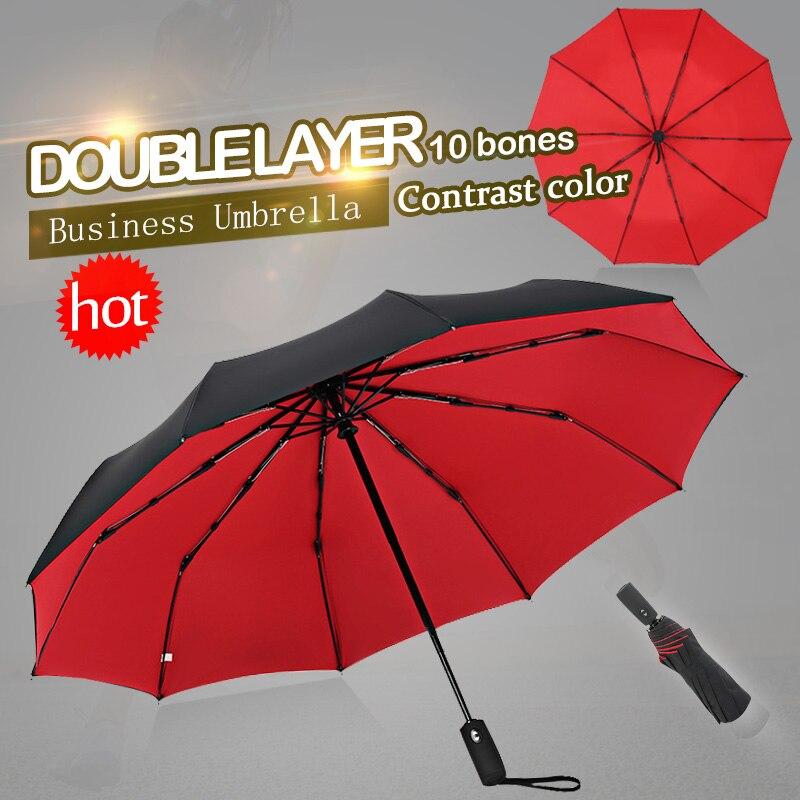 Ветрозащитный двойной автоматический складной зонт, для мужчин и женщин, 10 косточек, роскошные большие деловые зонтики от дождя, для подарка|Зонтики|   | АлиЭкспресс